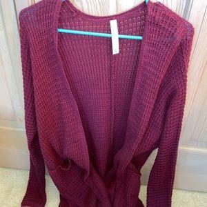 Aeropostale Maroon Knit Cardigan